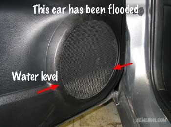 Signs of flood damage in a car