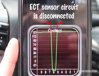 Intermittent open in the ECT circuit