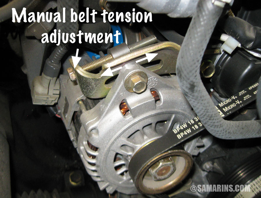 Belt Tension Adjustment on 1999 Mazda Miata Engine Diagram