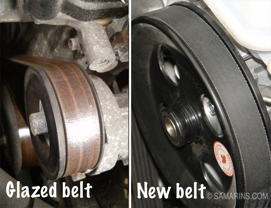 glazed serpentine belt vs  a new belt